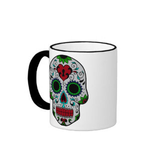 Day of the Dead in Red and Green Coffee Mugs