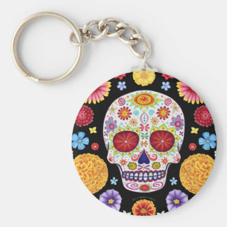 Day of the Dead Keychain Sugar Skull Art