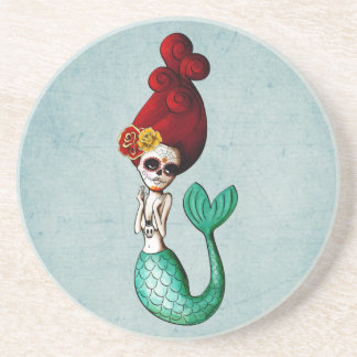 Day of The Dead Lovely Mermaid Girl Beverage Coasters
