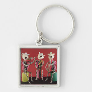 Day of the Dead: Mariachi, from Oaxaca Silver-Colored Square Key Ring