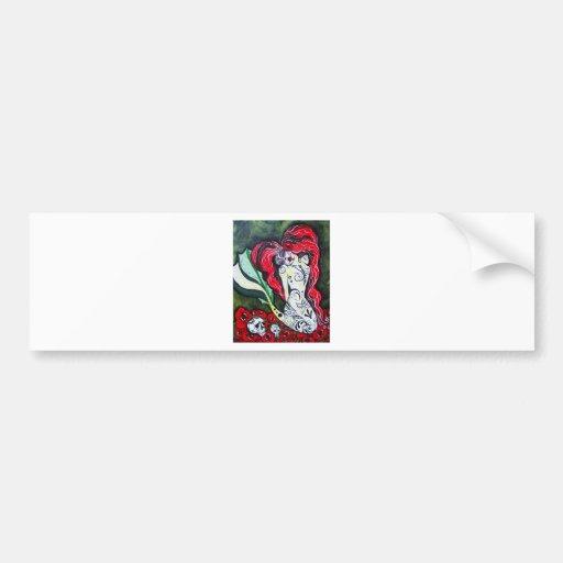 Day of the Dead Mermaid HEART Bumper Sticker