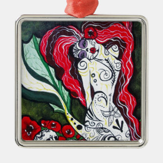 Day of the Dead Mermaid HEART Christmas Ornament