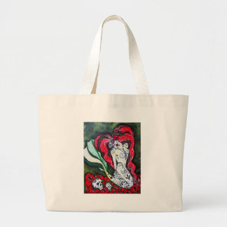 Day of the Dead Mermaid HEART Large Tote Bag