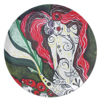 Day of the Dead Mermaid HEART Plate