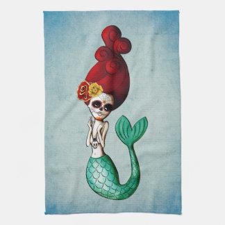 Day of The Dead Mermaid Tea Towel