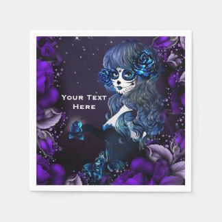 Day of the Dead Mexican Sugar Skull Purple Party Paper Serviettes