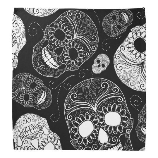 Day of the Dead Mosaic Art Black &