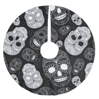 Day of the Dead Mosaic Art Black & White Brushed Polyester Tree Skirt