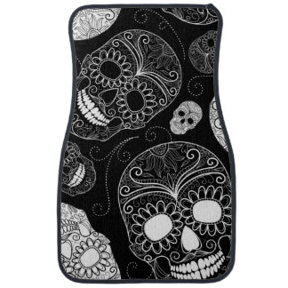Day of the Dead Mosaic Art Black & White Floor Mat