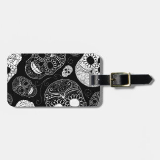 Day of the Dead Mosaic Art Black & White Luggage Tag