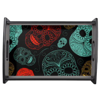 Day of the Dead Mosaic Art Red & Blue Serving Tray