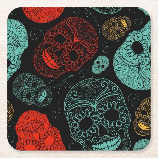 Day of the Dead Mosaic Art Red &