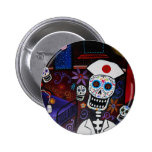 DAY OF THE DEAD NURSE BADGE