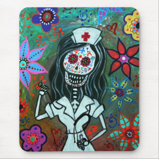 Day of the dead nurse painting mouse mat