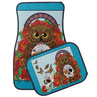 Day of the Dead Owl Car Mat