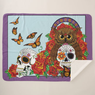 Day of the Dead Owl Sherpa Blanket