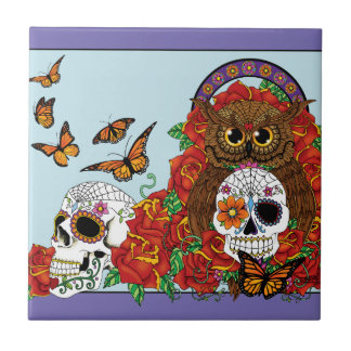 Day of the Dead Owl Tile