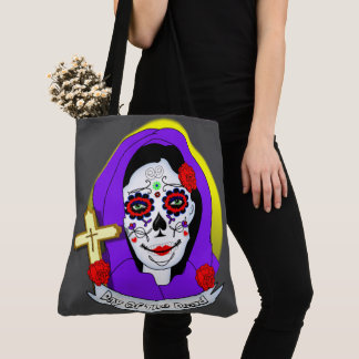 Day of The Dead Painted Lady Scrolls Roses Graphic Tote Bag