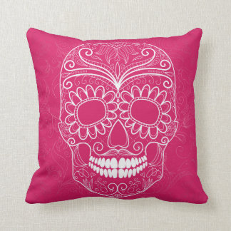 Day of the Dead Pink Skull Cushion