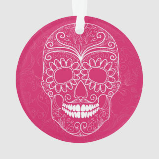 Day of the Dead Pink Skull Ornament