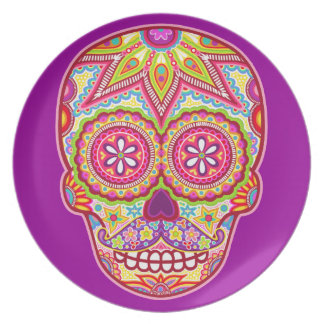 Day of the Dead Plate - Sugar Skull with Mustache