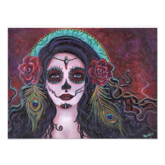 Day of the dead print with peacock feathers photo