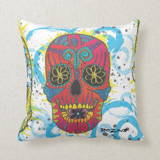 Day of The Dead Rainbow Skull Daisy Tribal Tattoo Cushion