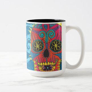 Day of The Dead Rainbow Skull Daisy Tribal Tattoo Mug
