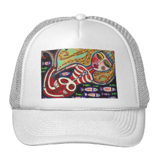 Day Of The Dead Red Skeleton Mermaid Hats