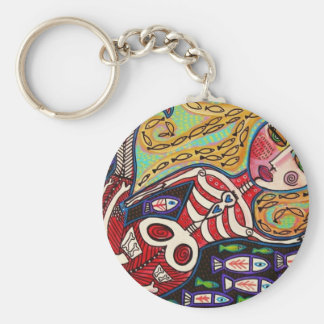 Day Of The Dead Red Skeleton Mermaid Keychain