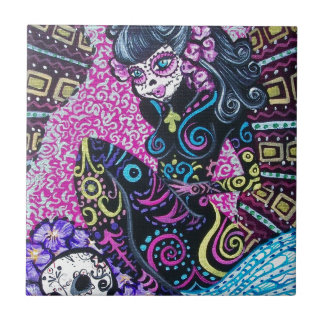 Day of the Dead Retro Mermaid Small Square Tile
