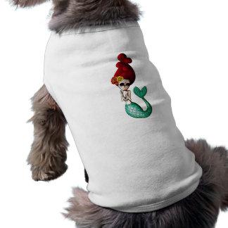 Day of The Dead Shy Mermaid Beauty Sleeveless Dog Shirt