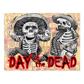 Day of the Dead - Skeletons with machete and booze Postcard