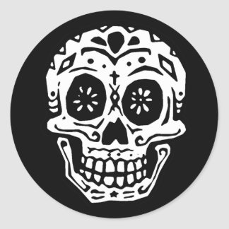 Day Of The Dead Skull 2 Round Sticker