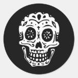 Day Of The Dead Skull-Black Round Sticker