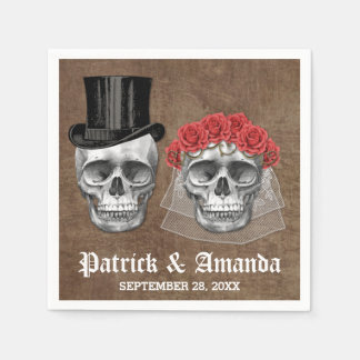 Day of the Dead Skull Couple Goth Wedding Napkins Disposable Serviette