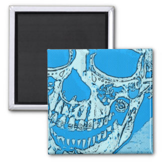 Day of the Dead Skull Designed Bright Bandana Blue Magnet