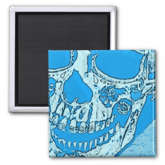 Day of the Dead Skull Designed Bright Bandanna Square Magnet