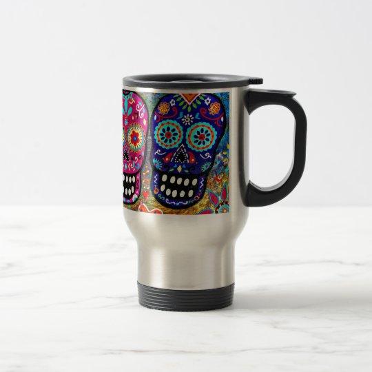 Day of the Dead Skull Heads Travel Mug