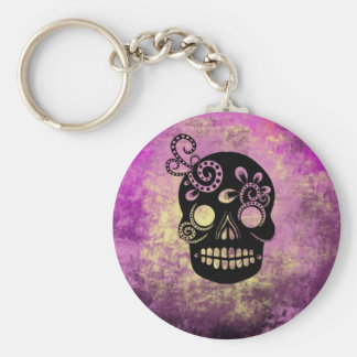 Day of the Dead Skull Basic Round Button Key Ring