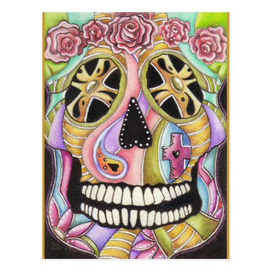 Day Of The Dead Skull 'n Roses Postcard