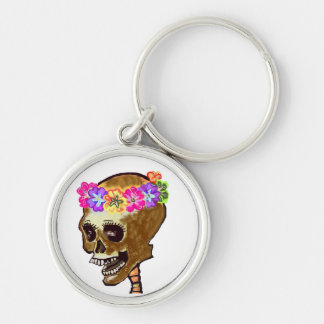 Day of the Dead Skull Silver-Colored Round Key Ring
