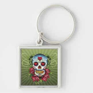 Day of the Dead Skull Silver-Colored Square Key Ring