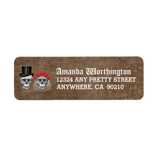 Day of the Dead Skull Wedding Return Address Return Address Label