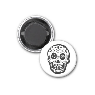 Day Of The Dead Skull-White Magnet