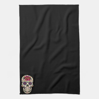 Day of the Dead Skull with Rose Kitchen Towels