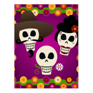 Day Of The Dead Skulls Postcard