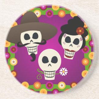 Day Of The Dead Skulls Sandstone Coaster
