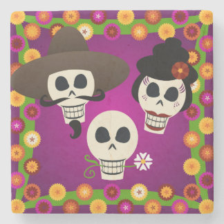 Day Of The Dead Skulls Stone Beverage Coaster
