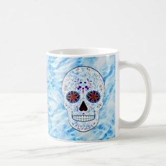 Day of the Dead Sugar Skull - Baby Blue Fractal Basic White Mug